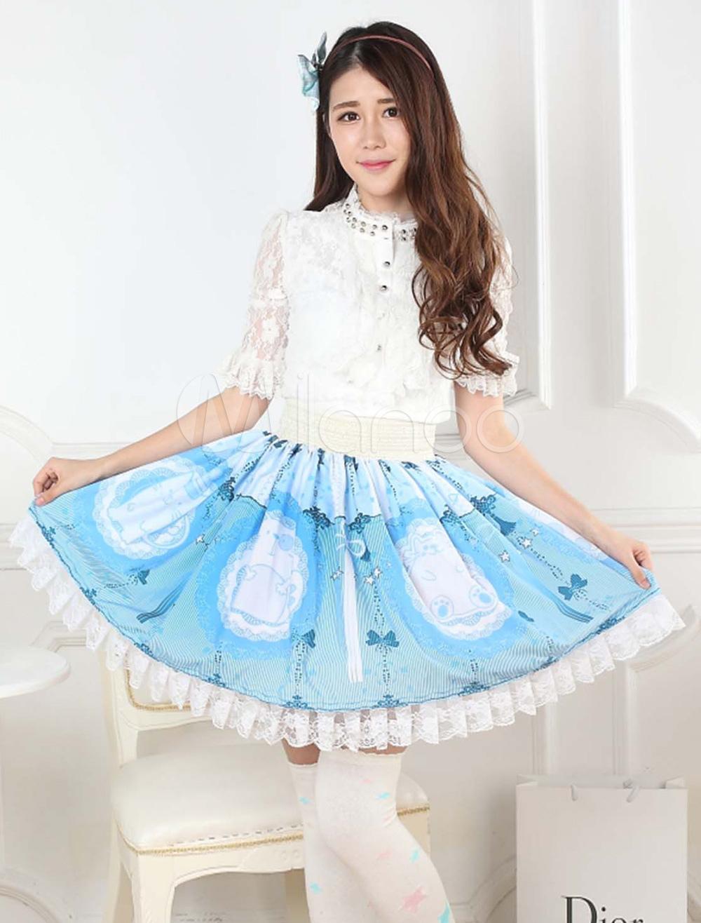 Blue Lace Polyester Lolita Skirts