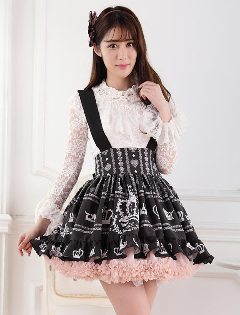 Black Lolita Skirt Salopette Crown Print Lace Lining