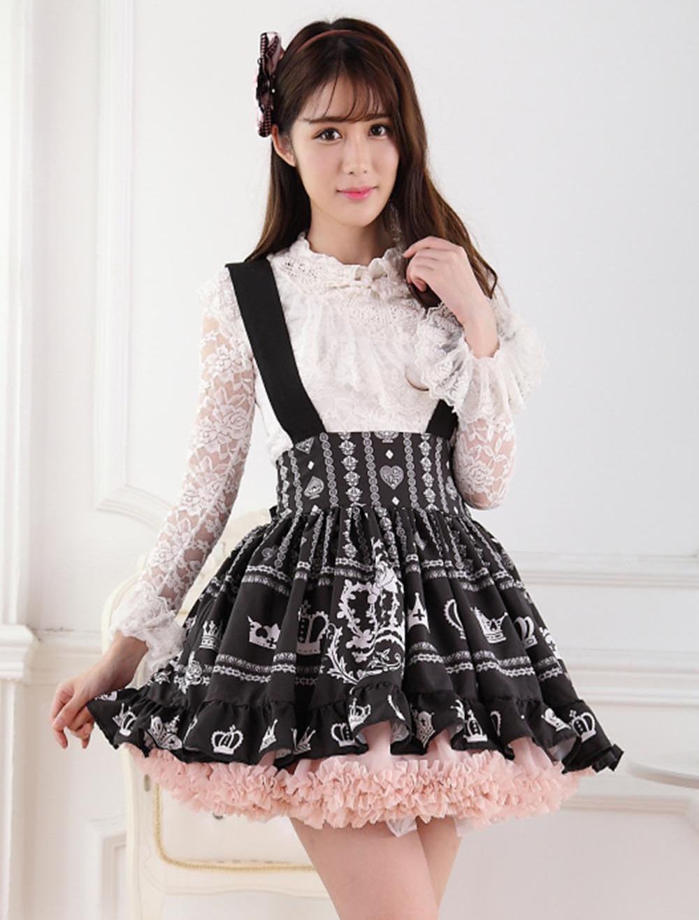 Black Lolita Skirt Salopette Crown Print Lace Lining