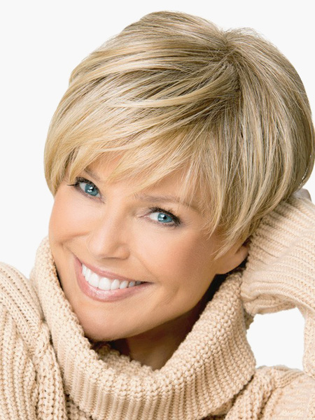 Women Short Wig 2018 Flaxen Side Swept Bang Layered Straight Synthetic Wigs