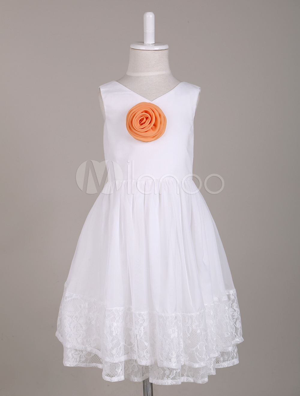 V Neck Knee Length Lace Flower Girl Dress