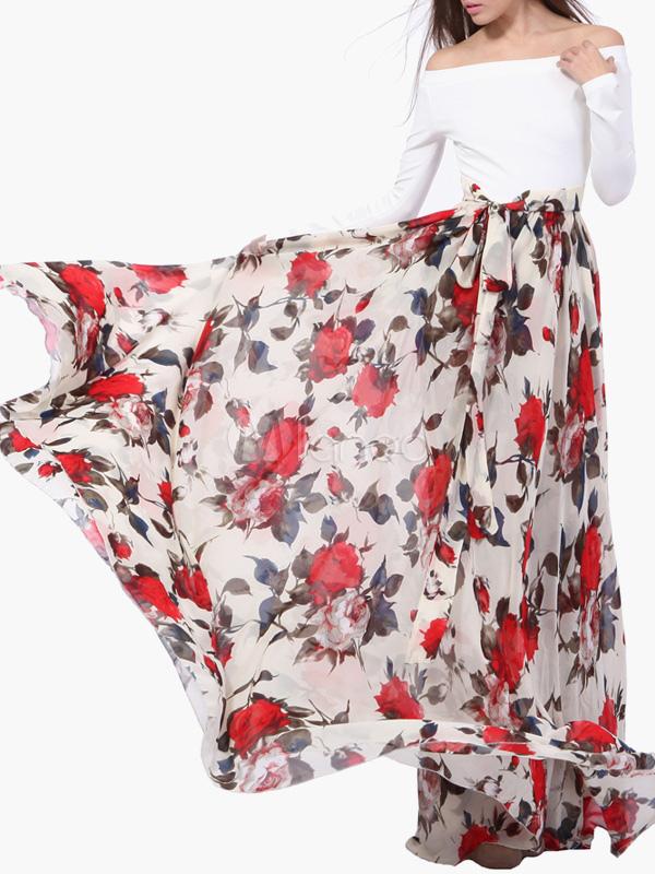 7df39d51ae9 Robe longue en chiffon multicolore imprimé fleuri hors de l épaule ...