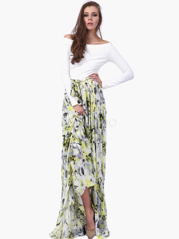 504e8d75351 ... Robe longue en chiffon multicolore imprimé fleuri hors de l épaule ...
