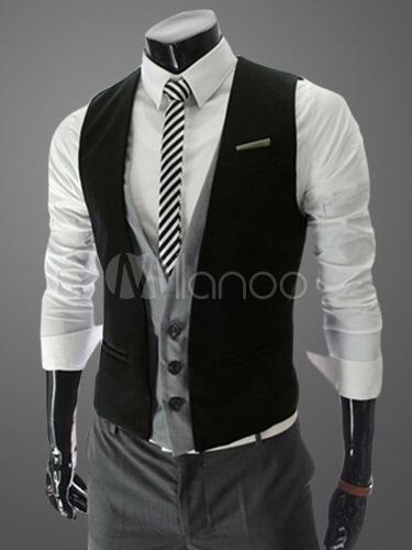 Men Waist Coat Fake 2 Piece Single Breasted Black Suit Vest