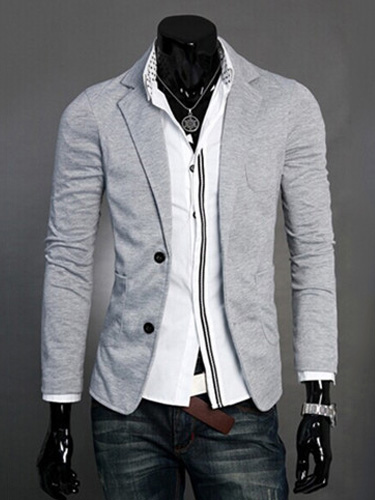 Men Casual Blazer Front Button Two Button Blazer For Men Notch Collar 2018 Cotton Suit Jacket