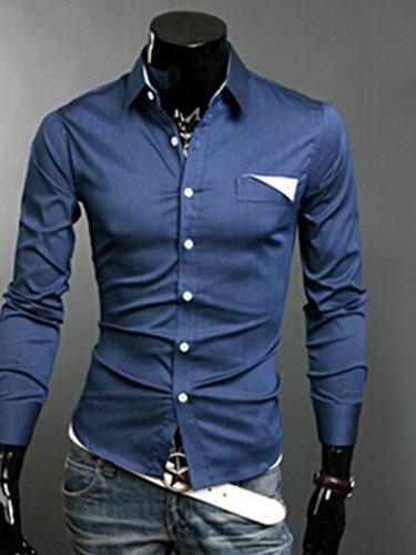 Milanoo / Turndown Collar Long Sleeves Cotton Blend Shirt