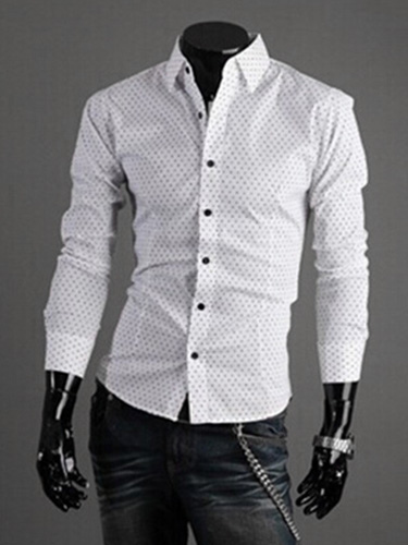 Buy Turndown Collar Long Sleeves Cotton Blend Shirt for $19.79 in Milanoo store