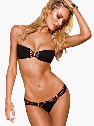 Costume da bagno bikini fascia per collo 2 pezzi nero monocolore sexy - Accessori per costumi da bagno ...
