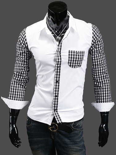 Buy Patchwork Long Sleeves Shaping Cotton Blend Casual Shirt for $19.79 in Milanoo store