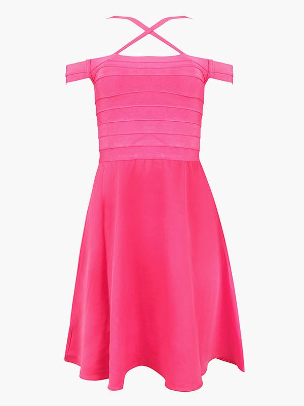 Vestido de fiesta de rayón con tirantes Color liso - Milanoo.com