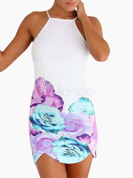 Blooming Flower Printed White Chiffon Summer Dress Cheap clothes, free shipping worldwide