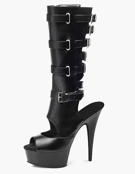Black Buckles PU Leather Sexy High Heel Boots