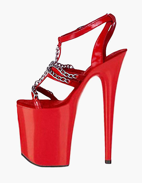 Red Chains PU Leather Sexy Sandals