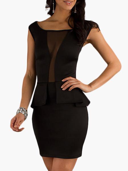 Buy Scoop Neck Peplum Short Sleeves Color Block Club Dress for $26.99 in Milanoo store