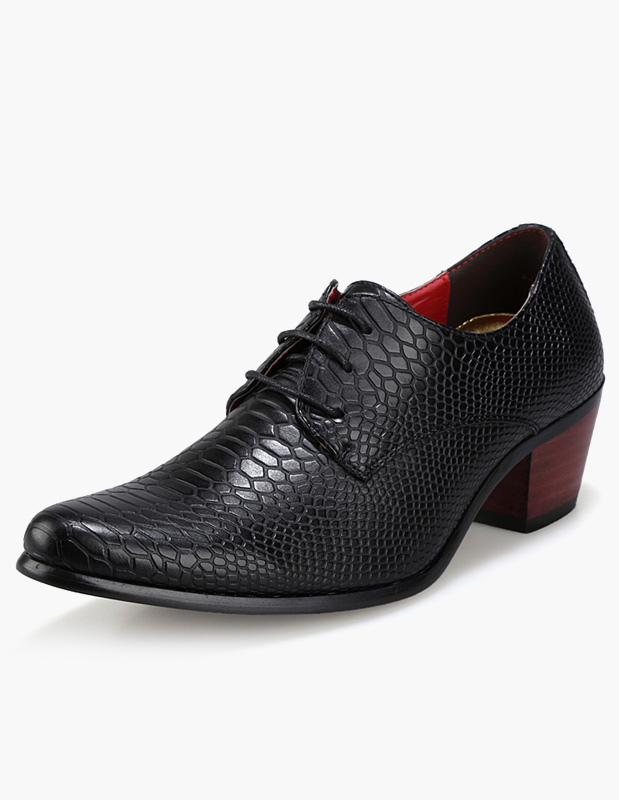Buy Black Dress Shoes 2018 Men Elevator Shoes Pointed Toe Crocodile Lace Up Business Shoes for $30.39 in Milanoo store