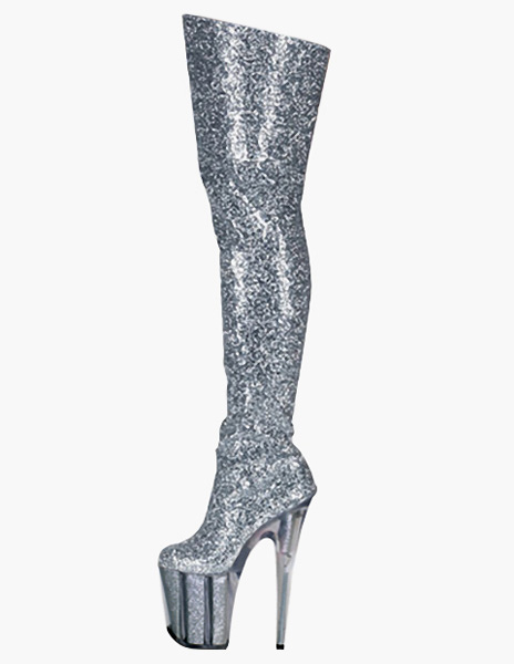 Zipper Sequined Cloth Sexy High Heel Boots