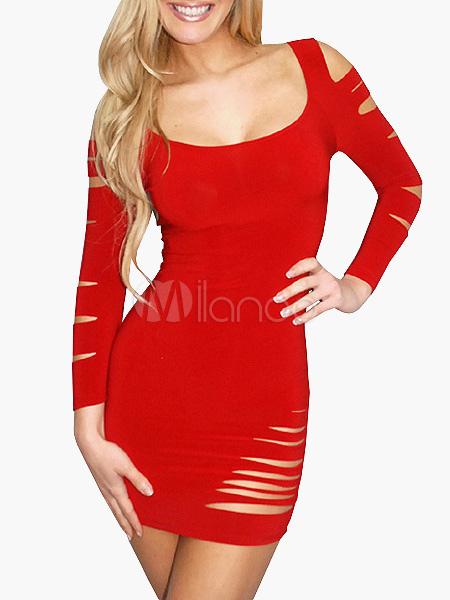 Scoop Neck Cut Out 3/4 Length Sleeves Slim Fit Club Dress