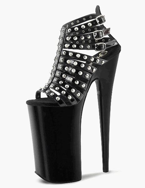 Black Studded PU Leather Sexy Sandals