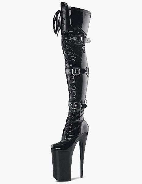 Black PU Leather Grommets Buckles Sexy High Heel Boots