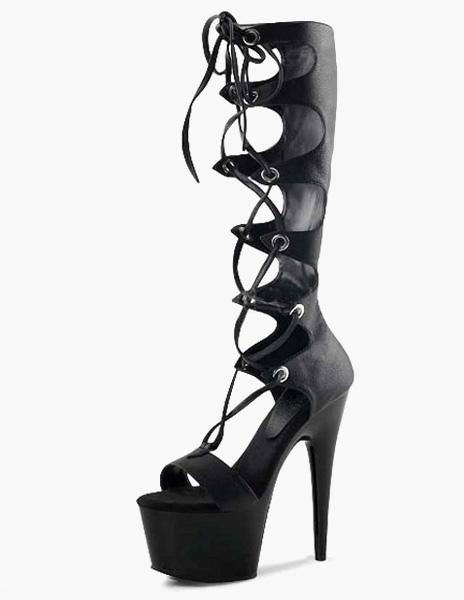 Ojales PU encaje Sexy botas altas de cuero sVYwl7vQ