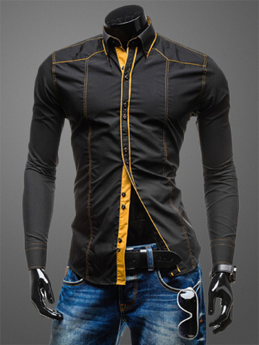 Spread Neck Long Sleeves Shaping Cotton Blend Casual Shirt