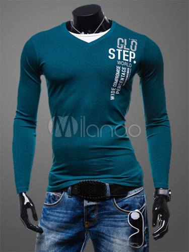 Buy Long Sleeves V-Neck Cotton Blend T-Shirt for $18.99 in Milanoo store