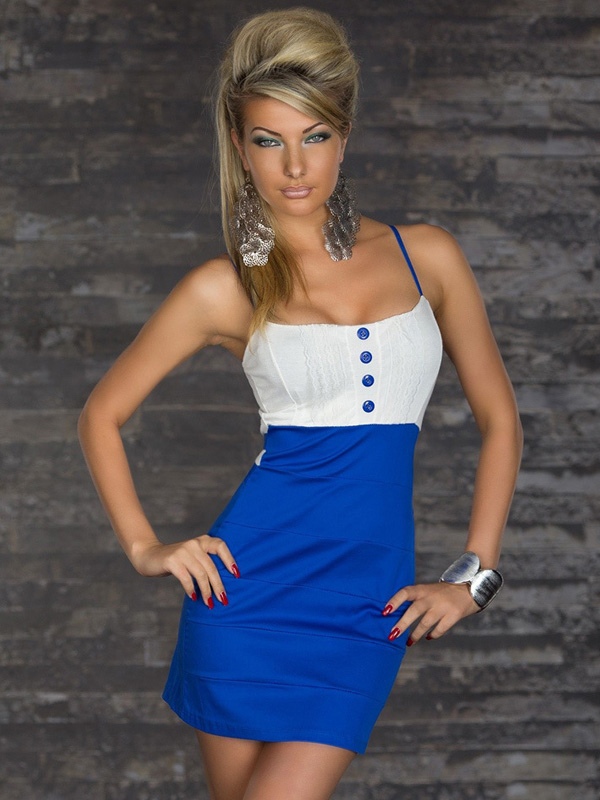 Sexy Straps Neck Buttons Color Block Slim Fit Club Dress