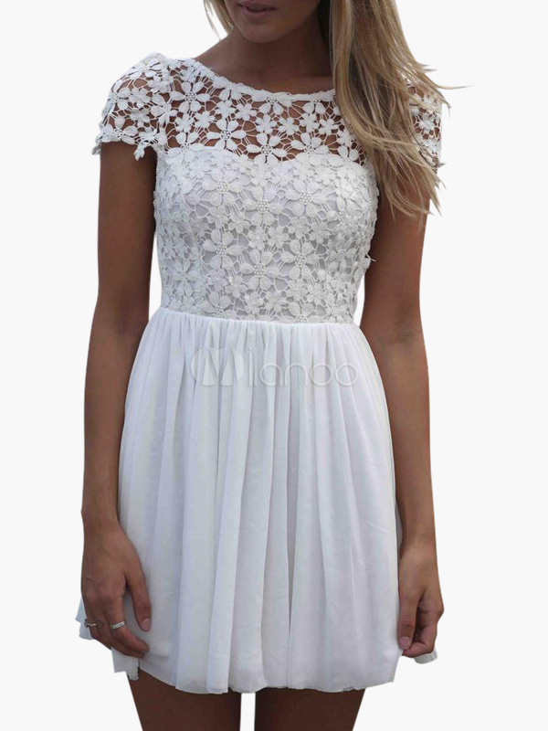 White Lace Dress Vintage Style Women's Chiffon Cut Out Backless Short Sleeve Skater Dress Cheap clothes, free shipping worldwide
