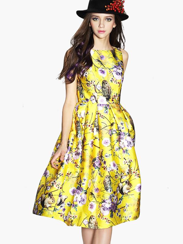 87a3de0e98b Robe imprime fleuri jaune – Modèles populaires de robes