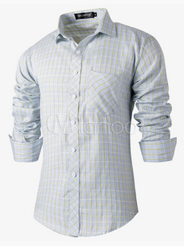 Buy Light Blue Cotton Blend Shaping Long Sleeves Casual Shirt for $20.89 in Milanoo store