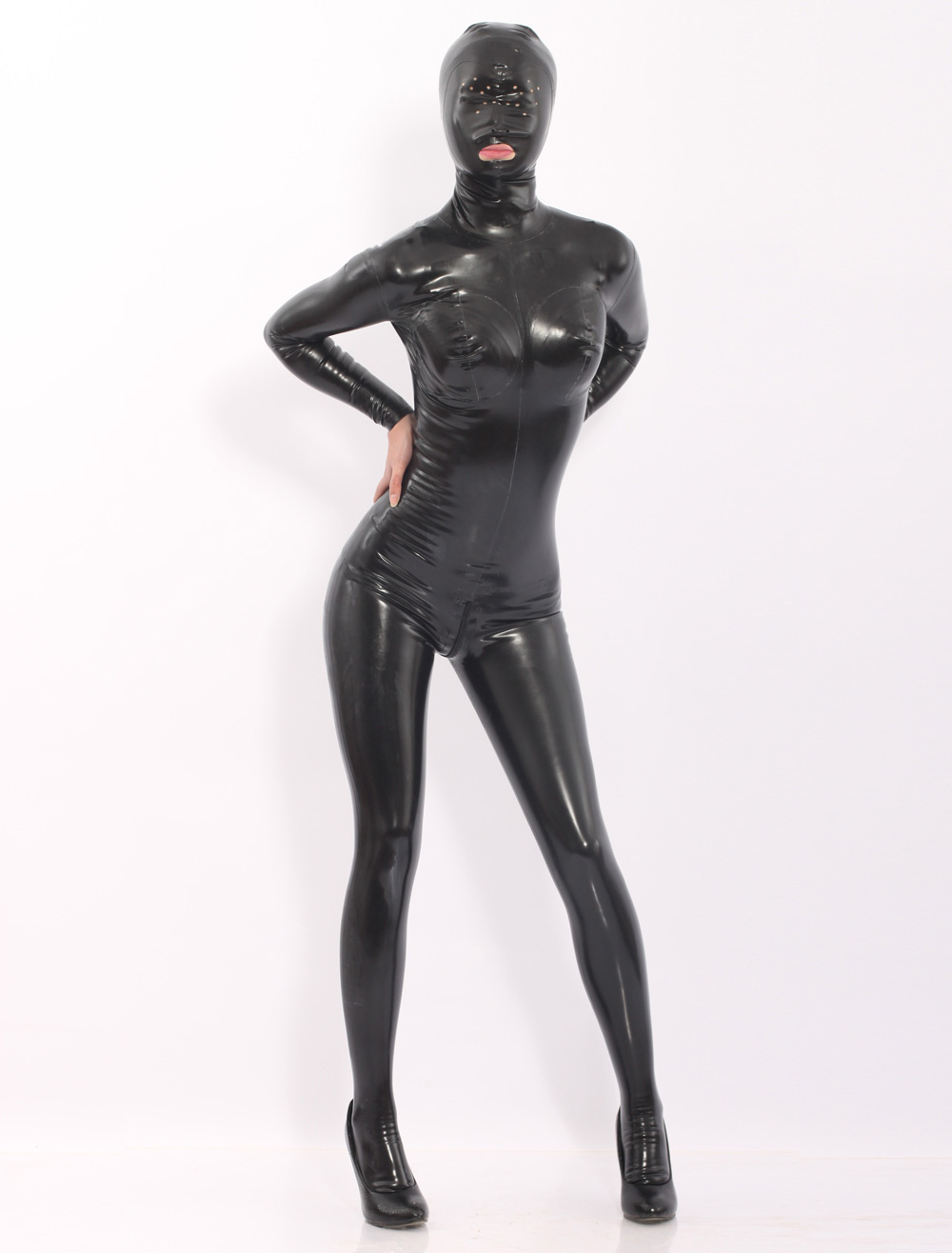 Black Latex Catsuits With Hood Halloween