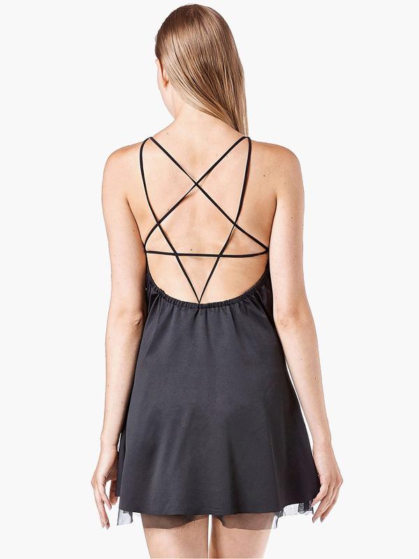 Black Star Straps Backless Dress