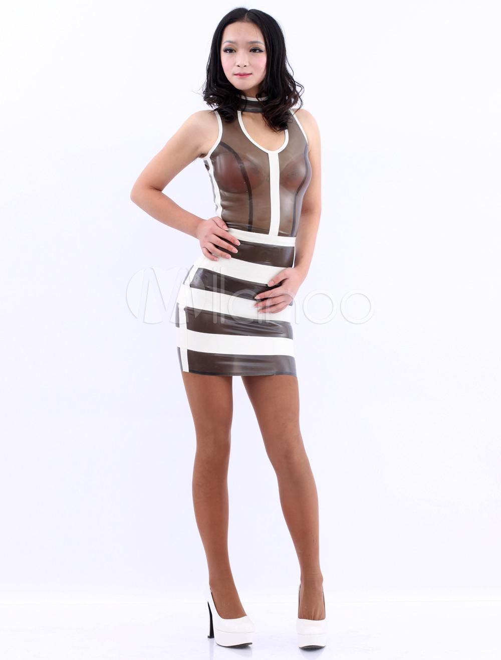 Latex Kleid in Schwarz / Weiß - Milanoo.com