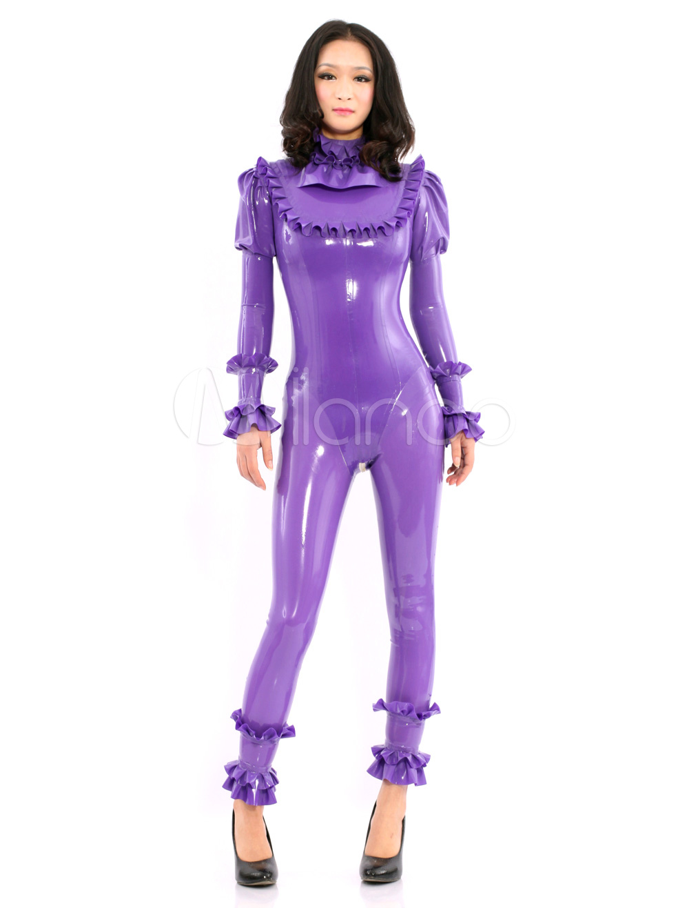 Purple Long Sleeves Latex Catsuit with Lotus Collar&Cuff Halloween