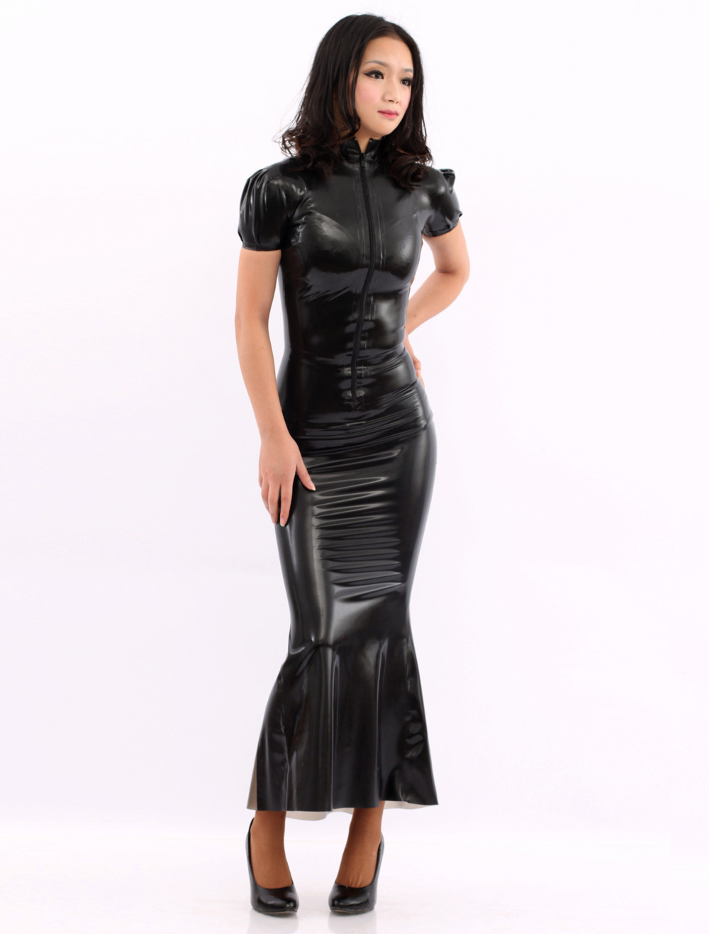 Black Short Sleeves Latex Dress Sexy Back Perpective Catsuit Halloween