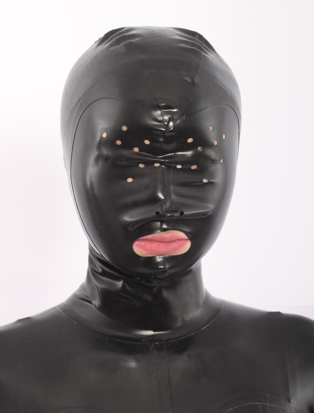Black Open Mouth Latex Hoods  Halloween