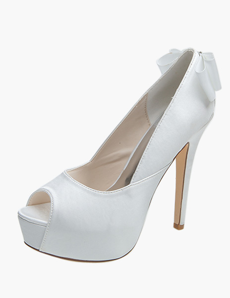 Buy White Bows Peep Toe Satin Evening and Bridal Platforms for $51.29 in Milanoo store