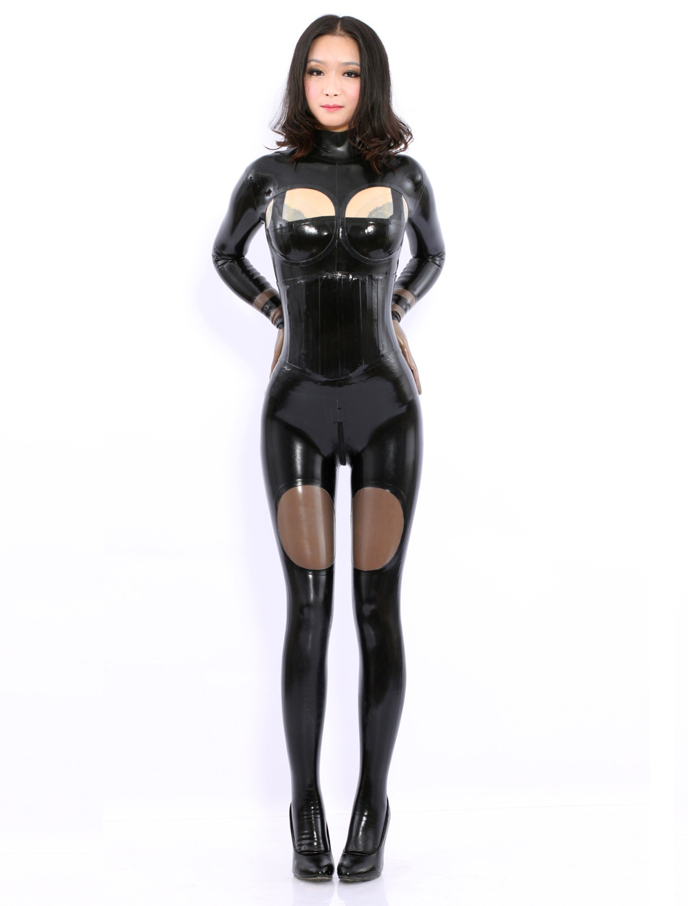 Black Long Sleeves Latex Catsuits  Halloween