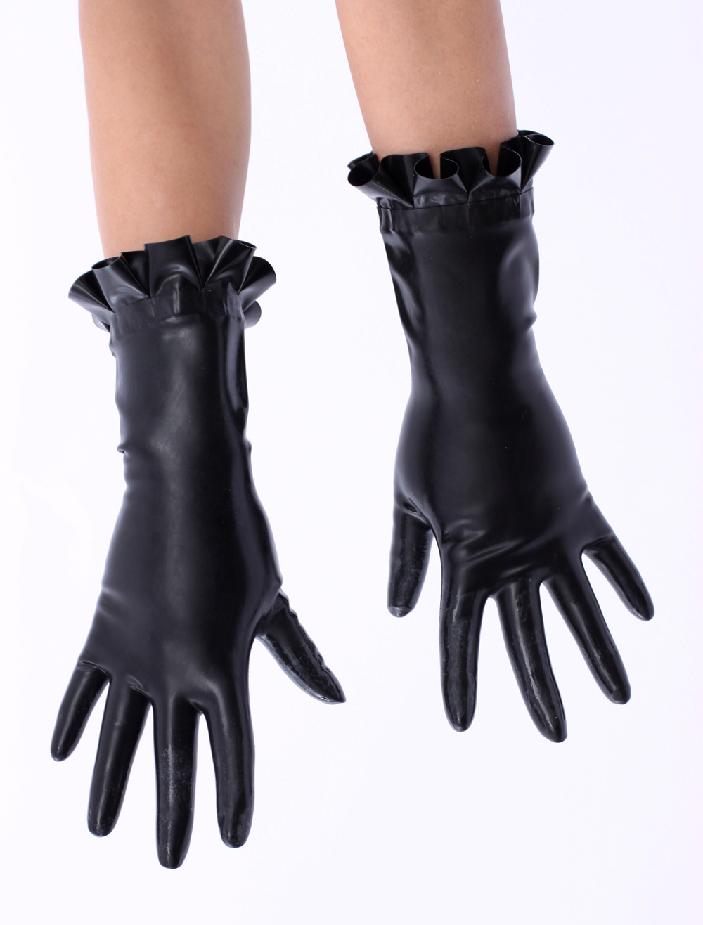 Black Ruffled Trim Latex Gloves  Halloween