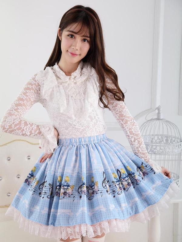 Angle Blue Lace Polyester Lolita Skirt