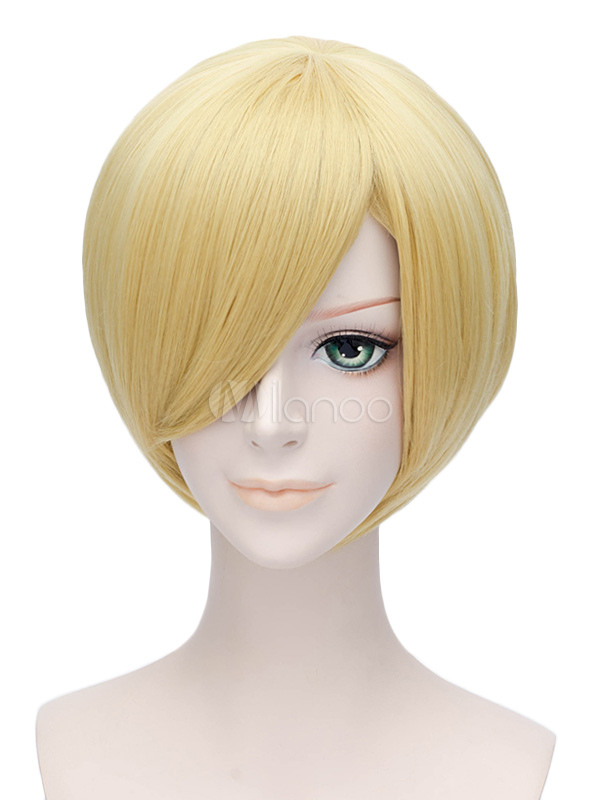 Buy One Piece Sanji Cosplay Wig Gold Straight Wig Halloween for $13.49 in Milanoo store