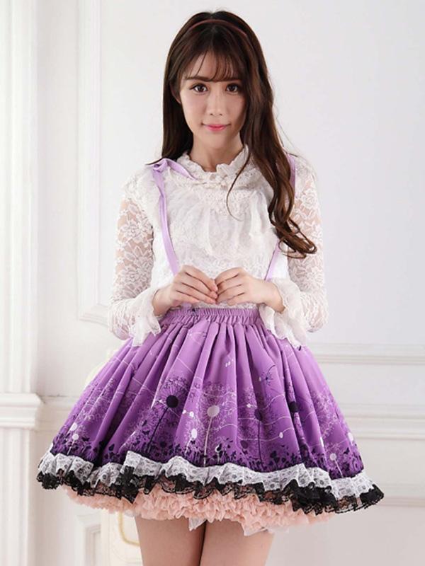 Sweet Lolita Skirt Purple Dandelion SK Lolita Skirt