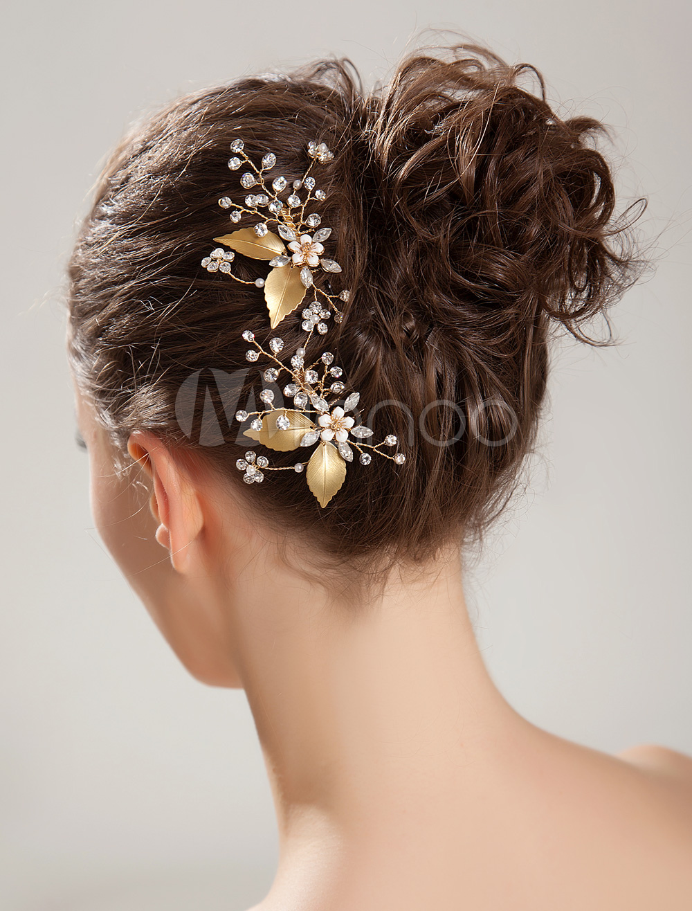 Buy Golden Leaves Rhinestone Hairpin for $39.99 in Milanoo store