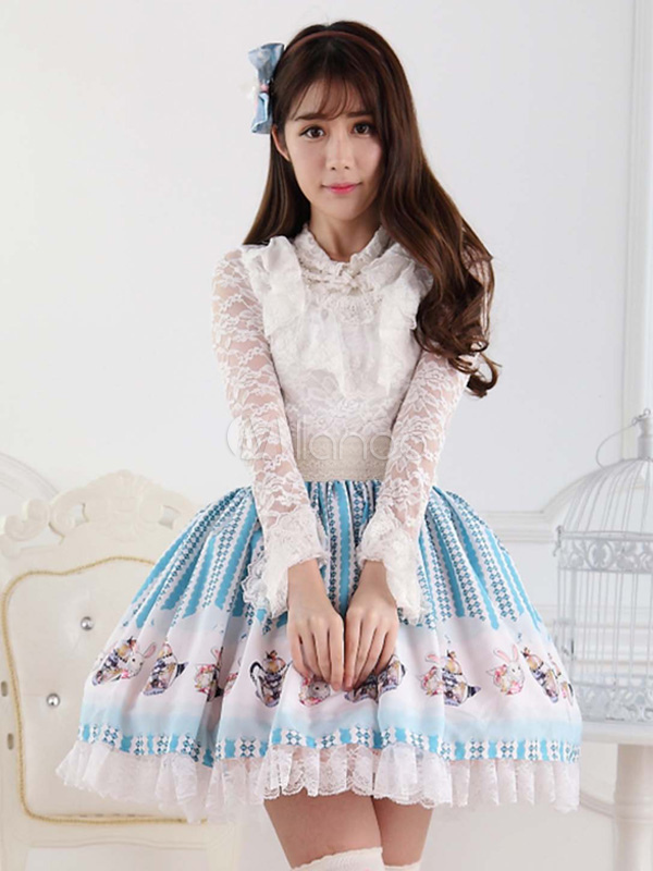 Hime Blue Lace Polyester Lolita Skirt