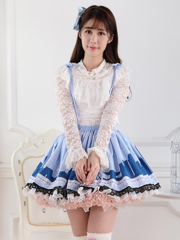 Blue Polyester Lace Fantastic Lolita Skirts