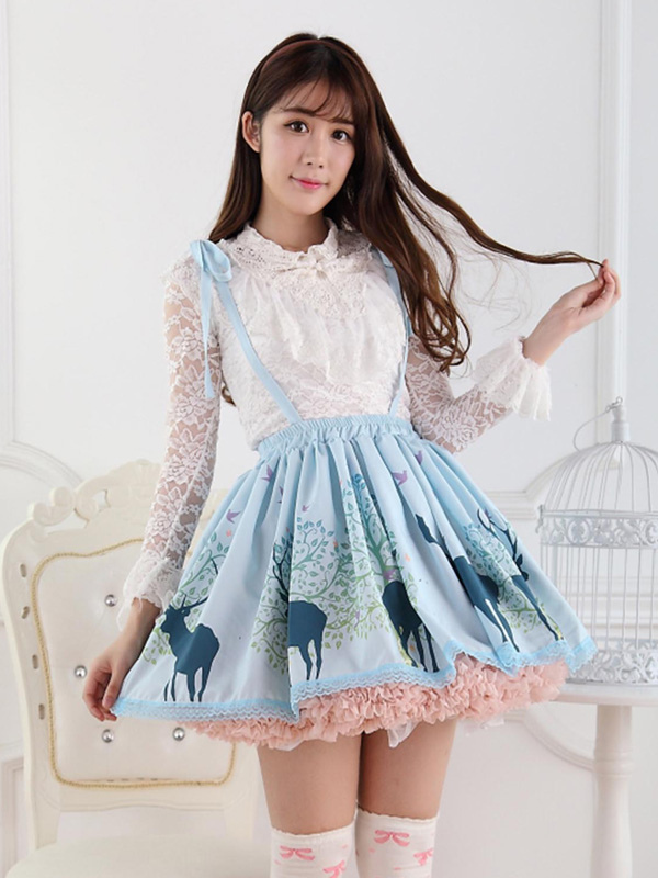 Angle Blue Lace Polyester Lolita Skirts