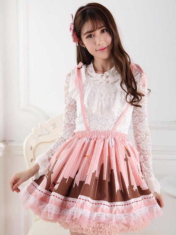 Pink Polyester Lace Elegant Lolita Skirt