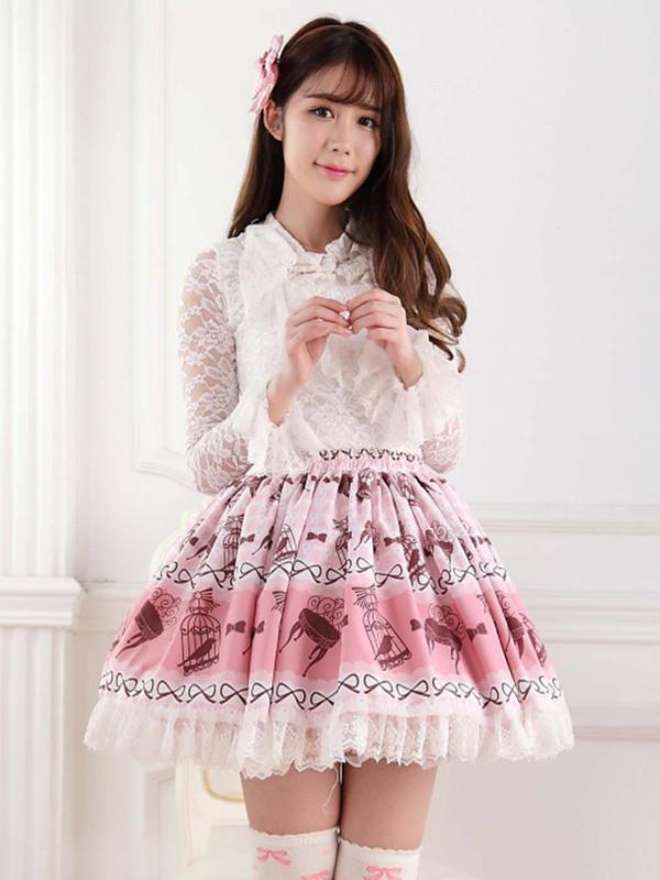 Pink Polyester Lace Angle Lolita Skirts
