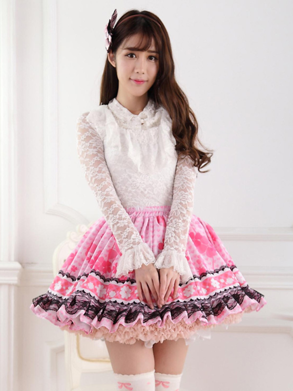 Buy Sweet Pink Lolita Short Skirt Lining Lace Trim Clover Print for $26.99 in Milanoo store