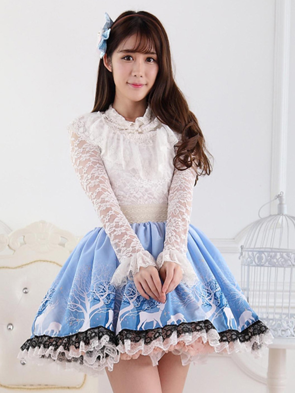 Buy Blue Short Lolita Skirt Lace Trim Polyester Print for $26.99 in Milanoo store